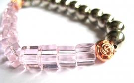 A-0549 Armband Roze, Rosé en Zilver