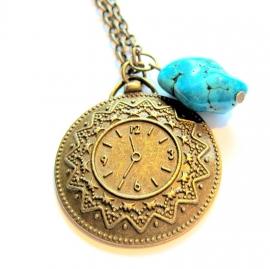 HL-0130 Ketting Time Bronze&Blue