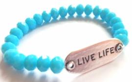 A-0505  Armband Live Life Blauw