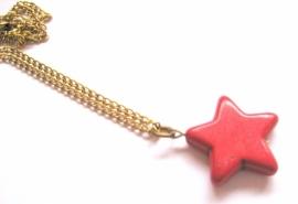 HK-0358 Halsketting Goud Rode Ster