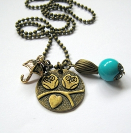 HK-0083  Ketting Bronze Owl