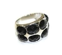 R-0030  Ring Silver Black Stone
