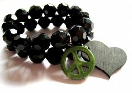 A-0302 Armband Black Peace