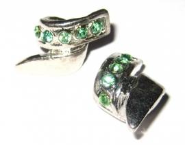 PM-0064  Kraal  Zilver met groene strass voor ketting