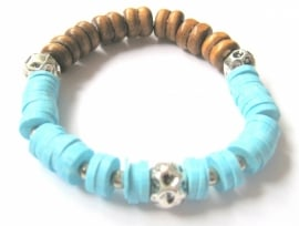 A-0429 Armband Hout Turquoise