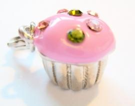 CE-0209 Charm Cupcake Zilver/roze Strass