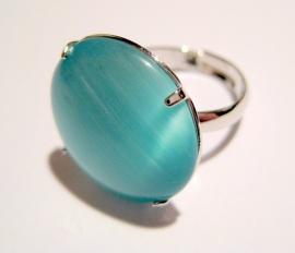 R-0085 Ring met cateye steen Aquamarijnblauw