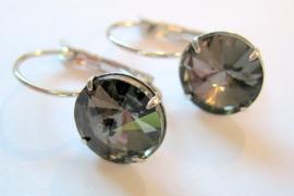 """OT-0013 Oorhangers """"Kristal"""" Black Diamond"""