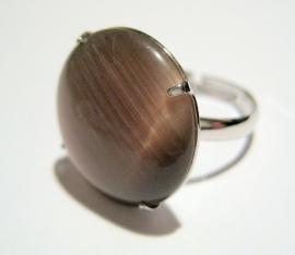 R-0089 Ring met cateye steen Bruingrijs