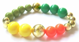 A-0480  Armband Goud Multicolor