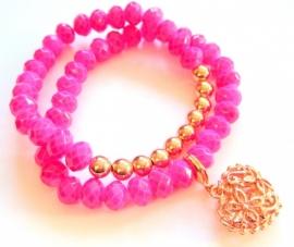 A-0336  Armband Pink & Rosé