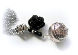 HL-0187 Ketting Blacksilver Rose