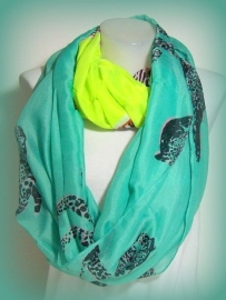 S-0358  Shawl Turkoois Lime