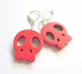 O-0576 Oorbellen Skull Rood
