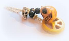 HK-0269 Ketting Goud Skull & Peace