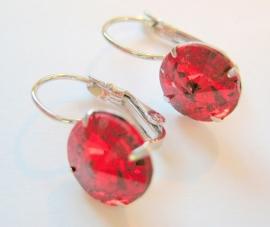 """OT-0012 Oorhangers """"Kristal"""" Red"""
