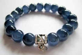 CA-0104M Basis Armband Glansparel Jeansblauw