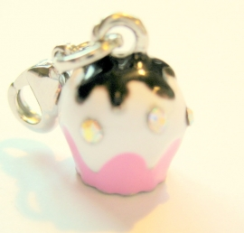 CE-0214 Charm Cupcake Roze/choco strass