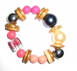 A-0141  Armband Pink & Hout