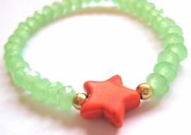 A-0421 Armband Ster Oranje Mintgroen