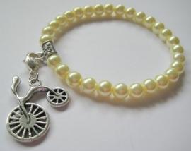CA-0020S Basis Armband Crème Pareltjes