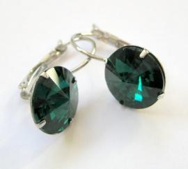 """OR-0231 Oorhangers """"Kristal"""" Emerald"""