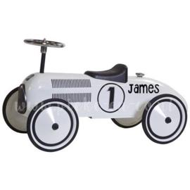 Retroroller Loopauto Wit met naam