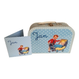 Koffertje met opdruk van geboortekaartje Lichtblauw