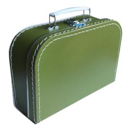 Koffertje met opdruk van geboortekaartje Olijfgroen 25cm