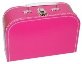 Koffertje met opdruk van het geboortekaartje Fuchsiaroze