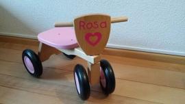 Houten Loopfiets met naam Rosa