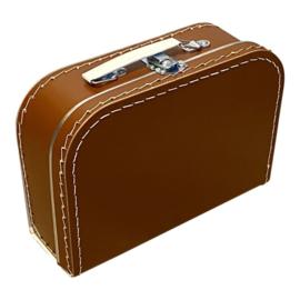 Koffertje met opdruk van het geboortekaartje Roestbruin
