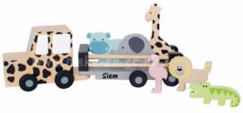 Houten Jeep Safari met dieren met naam