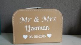Koffertje met naam van het bruidspaar