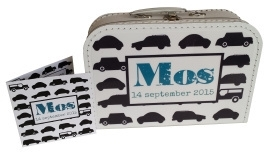 Koffertje met opdruk van geboortekaartje Wit