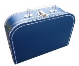 Koffertje met opdruk van het geboortekaartje Donkerblauw
