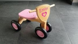 Houten Loopfietsje met naam Emily