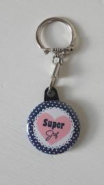 Sleutelhanger Super Juf Blauw/Roze