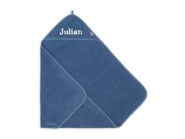 Jollein Badcape Badstof 75x75cm - Jeans Blue met naam