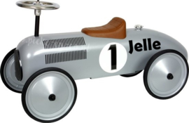 Retroroller Loopauto Zilver met naam