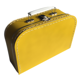 Koffertje met opdruk van geboortekaartje Okergeel