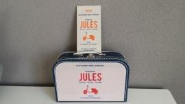 Koffertje met opdruk van geboortekaartje Donkerblauw