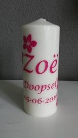 Doopkaars met naam voor Zoe