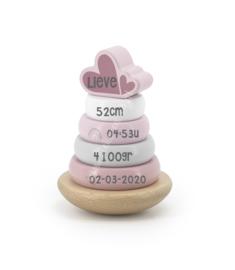 Label Label Houten Stapeltoren Roze met naam en geboortegegevens