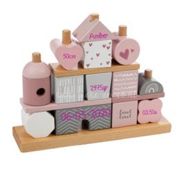 Label Label Houten Stapelgeveltje Roze met naam en geboortegegevens