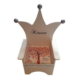 Kroonstoel met opdruk van het geboortekaartje - Troonstoel