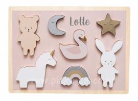 Houten Puzzel Teddy en Bunny met naam