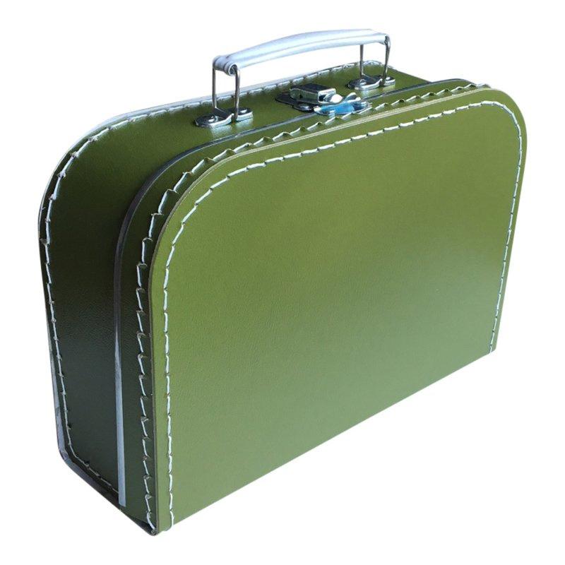 Koffertje met opdruk van het geboortekaartje Olijfgroen