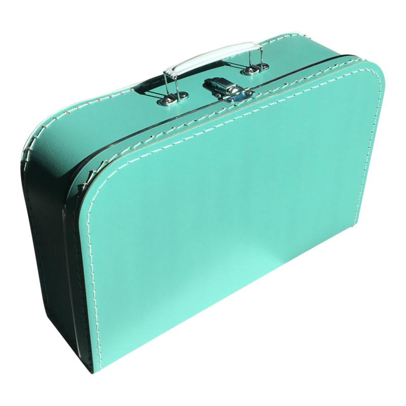 Koffertje met opdruk van geboortekaartje Turquoise