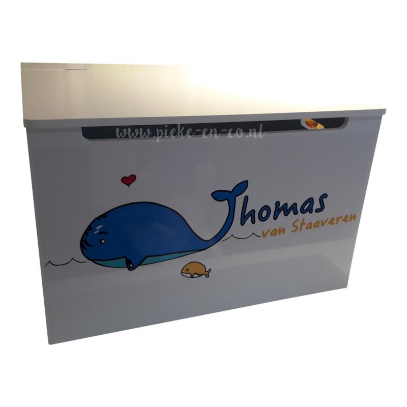 Houten Speelgoedkist met opdruk van geboortekaartje